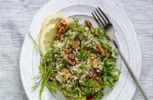 Toasted Walnut, Quinoa, Kale and Lemon-Olive Oil Salad
